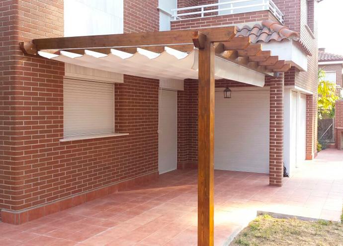 Pergolas de madera montajes en madera exterior - Pergolas con toldo ...